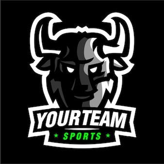 Logotipo de jogo de mascote de touro preto