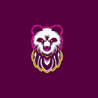 Logotipo de jogo de mascote panda agressivo e esport