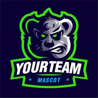 Logotipo de jogo de mascote urso bravo