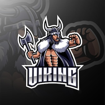 Logotipo de jogo de mascote viking