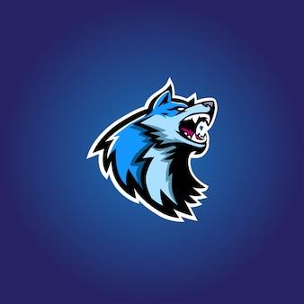Logotipo de jogo lobo azul esport
