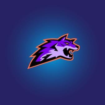 Logotipo de jogo lobo roxo esport