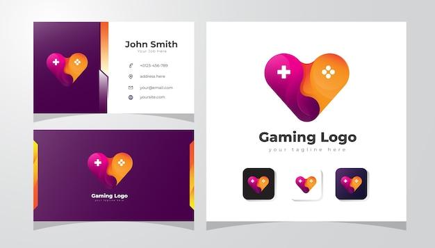 Logotipo de jogos com conceito de amor e joystick