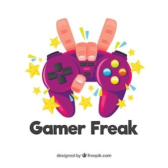 Logotipo de jogos com mão segurando o gamepad