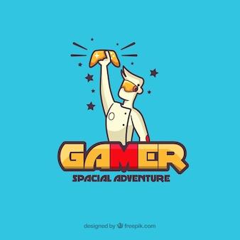 Logotipo de jogos com menino e consola