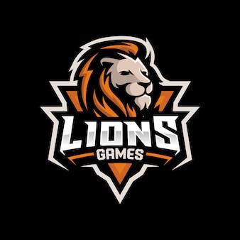 Logotipo de jogos de cabeça de leão para mascote esport e esporte