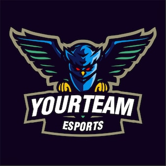 Logotipo de jogos de mascote de coruja azul