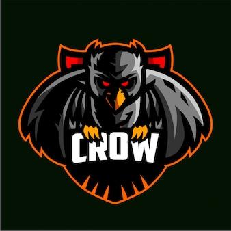 Logotipo de jogos de mascote de corvo