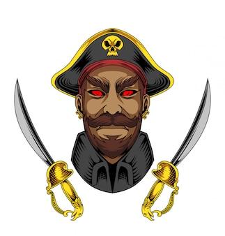 Logotipo de jogos de mascote de piratas