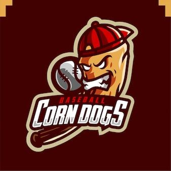 Logotipo de jogos de mascote de time de beisebol de cães de milho