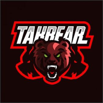Logotipo de jogos de mascote de urso bravo