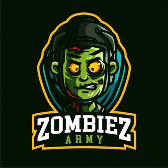Logotipo de jogos de mascote do exército de zombiez