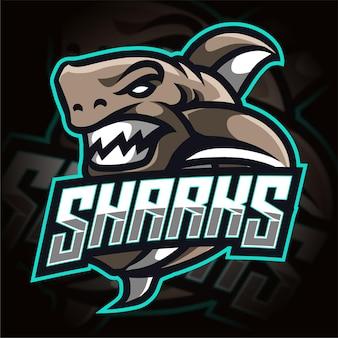 Logotipo de jogos esportivos de tubarão irritado