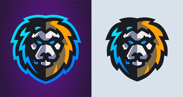 Logotipo de jogos mascote cabeça de leão