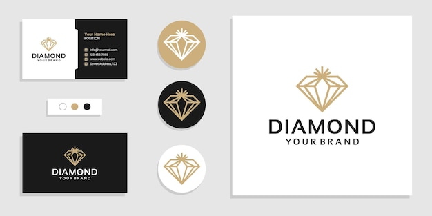 Logotipo de joias de diamante de luxo e modelo de design de cartão de visita