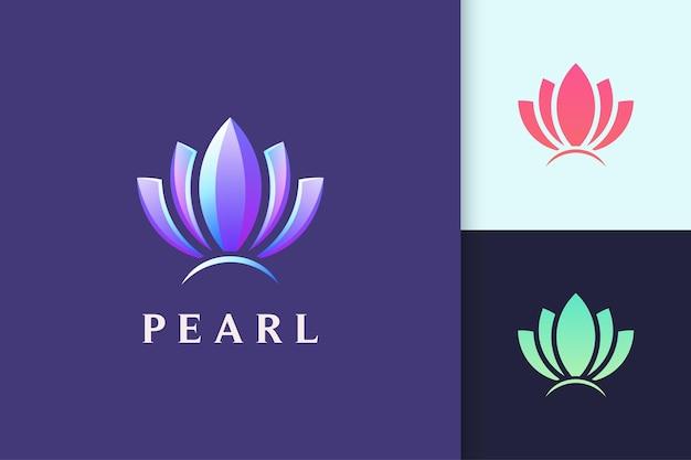 Logotipo de joias ou beleza em forma de pérola abstrata para spa ou cosméticos