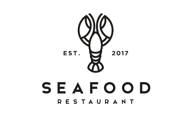 Logotipo de lagosta camarão lagosta marisco