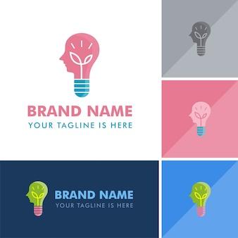 Logotipo de lâmpada de ideia de natureza