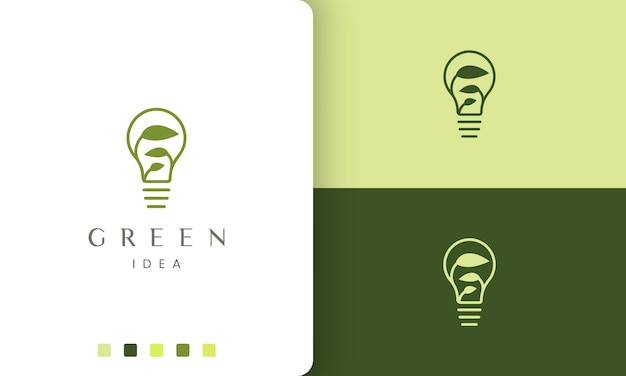 Logotipo de lâmpada natural em estilo simples e minimalista