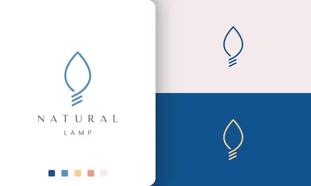 Logotipo de lâmpada natural em formato de folha e estilo moderno