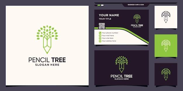 Logotipo de lápis e árvore com estilo de arte de linha e design de cartão de visita premium vector