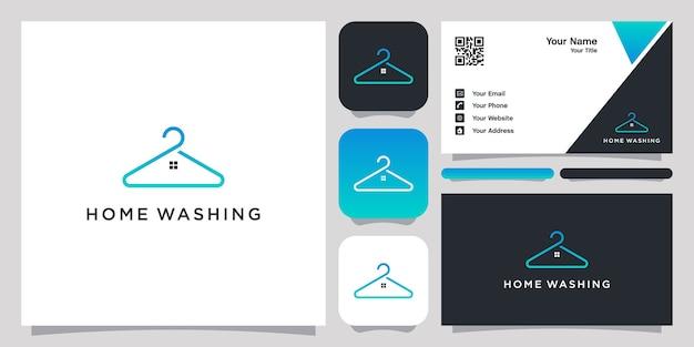 Logotipo de lavagem doméstica com design de arte de linha e cartão de visita