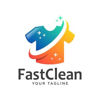 Logotipo de lavanderia gradiente simples celan