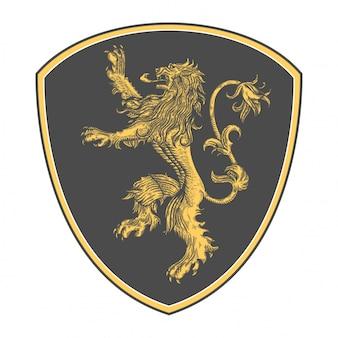 Logotipo de leão clássico com estilo de gravura