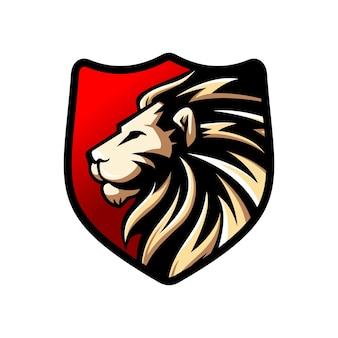 Logotipo de leão de luxo e e-sport