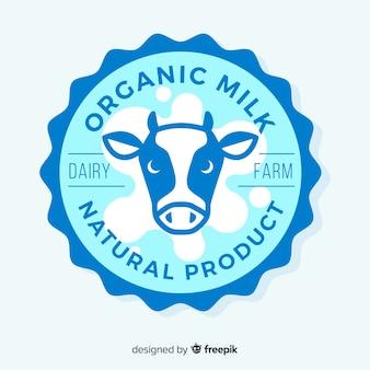 Logotipo de leite cabeça de vaca plana