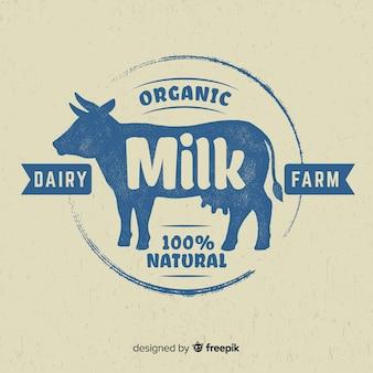 Logotipo de leite de silhueta de vaca