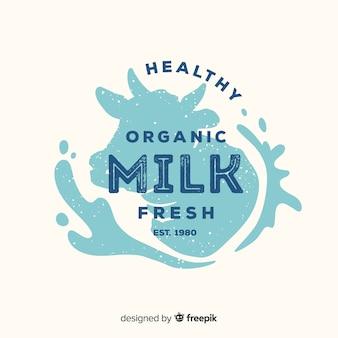 Logotipo de leite de vaca de silhueta de cabeça