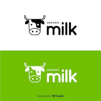 Logotipo de leite de vaca plana