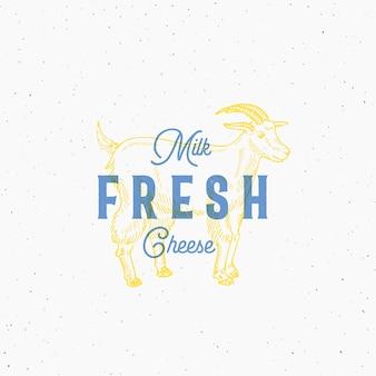 Logotipo de leite e queijo fresco