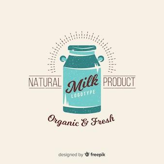 Logotipo de leite orgânico de batedeira