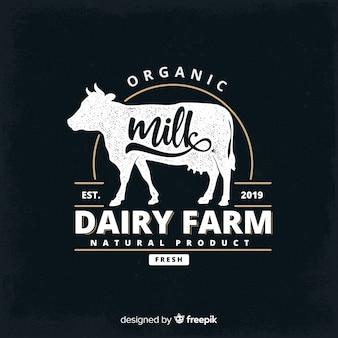 Logotipo de leite orgânico de efeito de quadro-negro