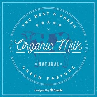 Logotipo de leite orgânico vintage
