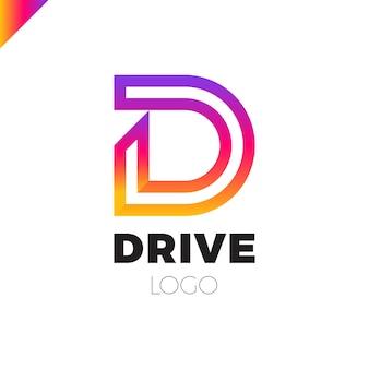 Logotipo de letra d emblema de letra de unidade dinâmica