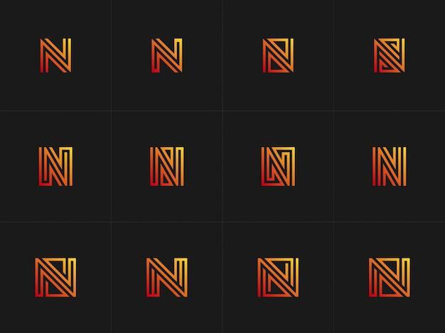 Logotipo de letra de coleção abstrac n com cor gradiant