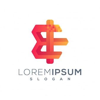 Logotipo de letra e pixel