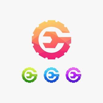 Logotipo de letra g sinal industrial