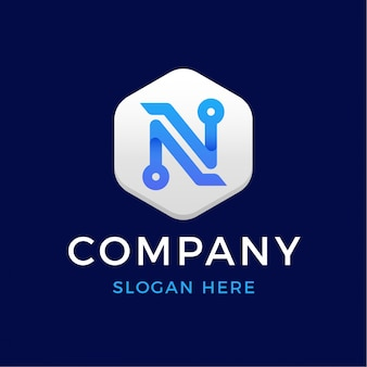 Logotipo de letra n moderna tecnologia digital