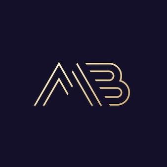 Logotipo de letras mb, design de monograma de linha