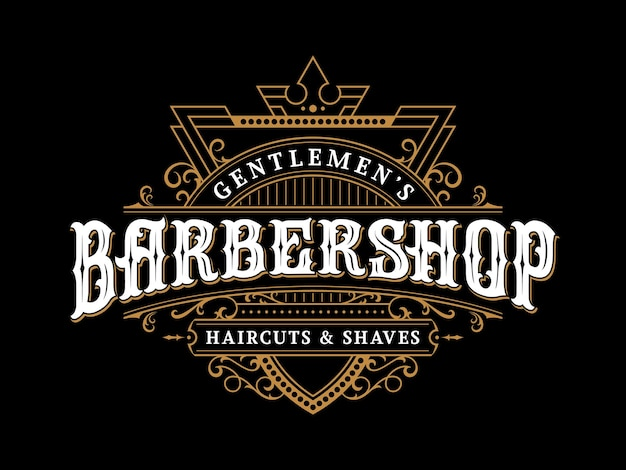 Logotipo de letras vintage de barbearia com moldura decorativa decorativa