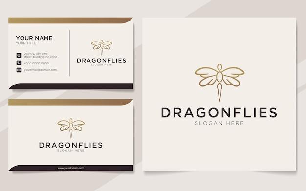 Logotipo de libélulas de luxo e modelo de cartão de visita
