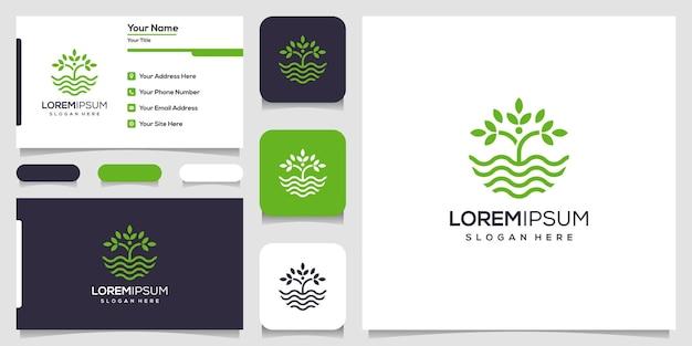 Logotipo de licença e onda de água com arte de linha. onda e logotipo da natureza. design de logotipo e cartão de visita