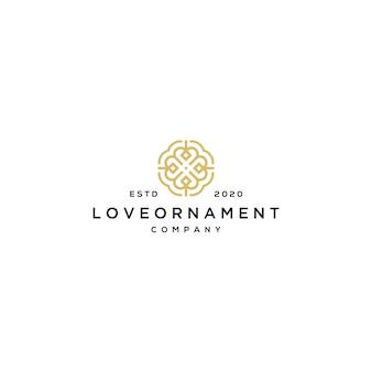 Logotipo de linha amor com modelo de ornamento
