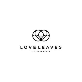 Logotipo de linha círculo com logotipo amor e folha