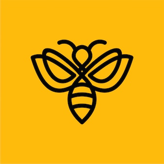 Logotipo de linha de abelha premium de vetor minimalista