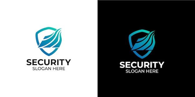 Logotipo de linha de escudo elegante e minimalista para empresas e agências